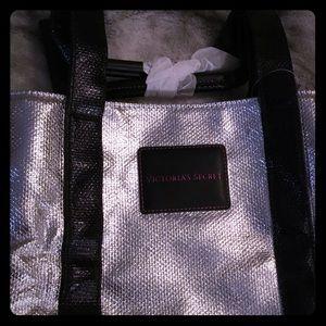 NEW Large Victoria's Secret silver & black tote